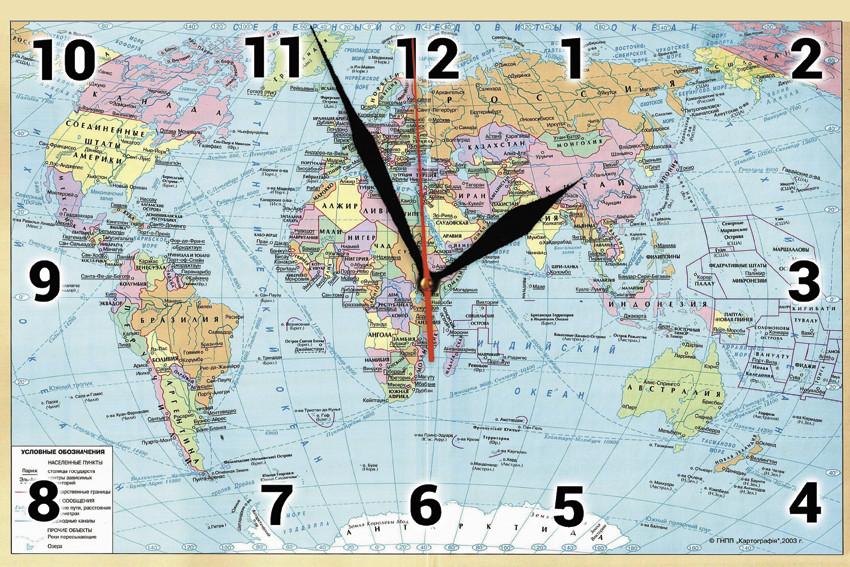 """Настінні годинники """"Мапа світу"""" скляні кварцові"""