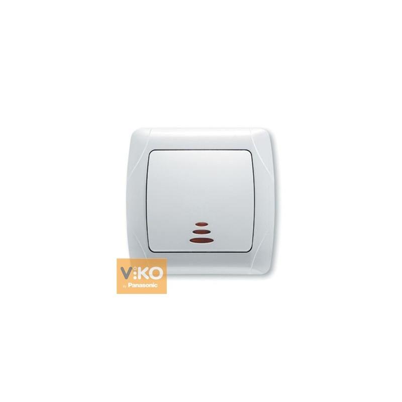 Выключатель с подсветкой одноклавишный VIKO Carmen - Белый