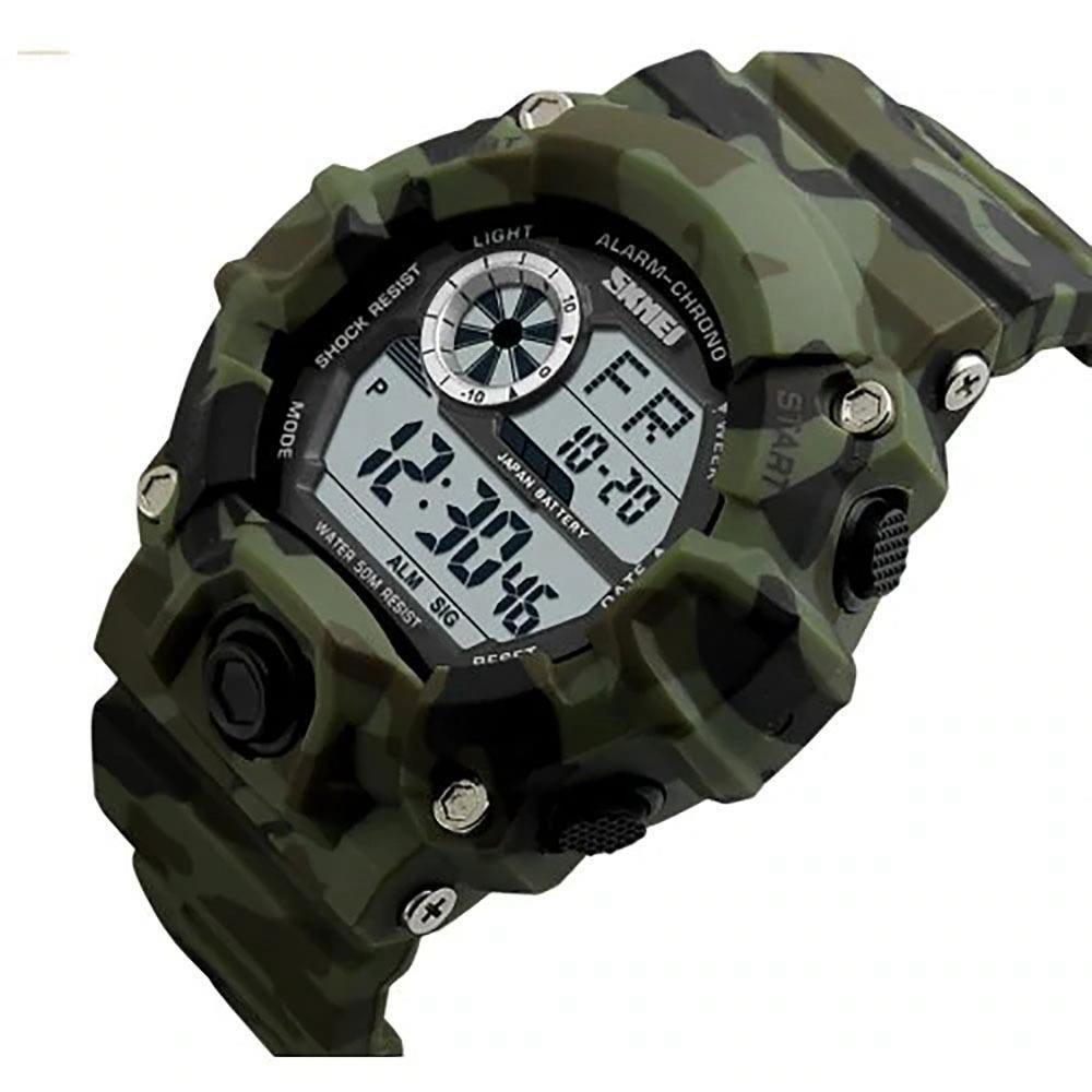 Спортивные мужские часы Skmei 1019 зеленый камуфляж