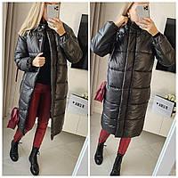 Женское зимнее стёганное пальто на силиконе из водонепроницаемой плащевки