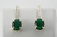 Серьги из серебра 925 с зелеными фианитами