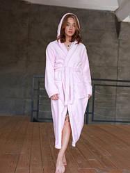 Длинный женский махровый халат пудра, размер S- 3 XL
