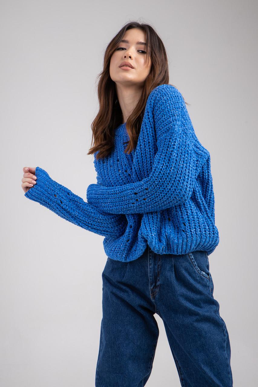 Трикотажная кофта-свитер с круглым вырезом горловины в 5 цветах в размере S/M  и M/L