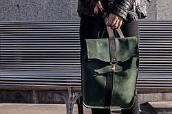 Рюкзак шкіряний LR-07 Зелений
