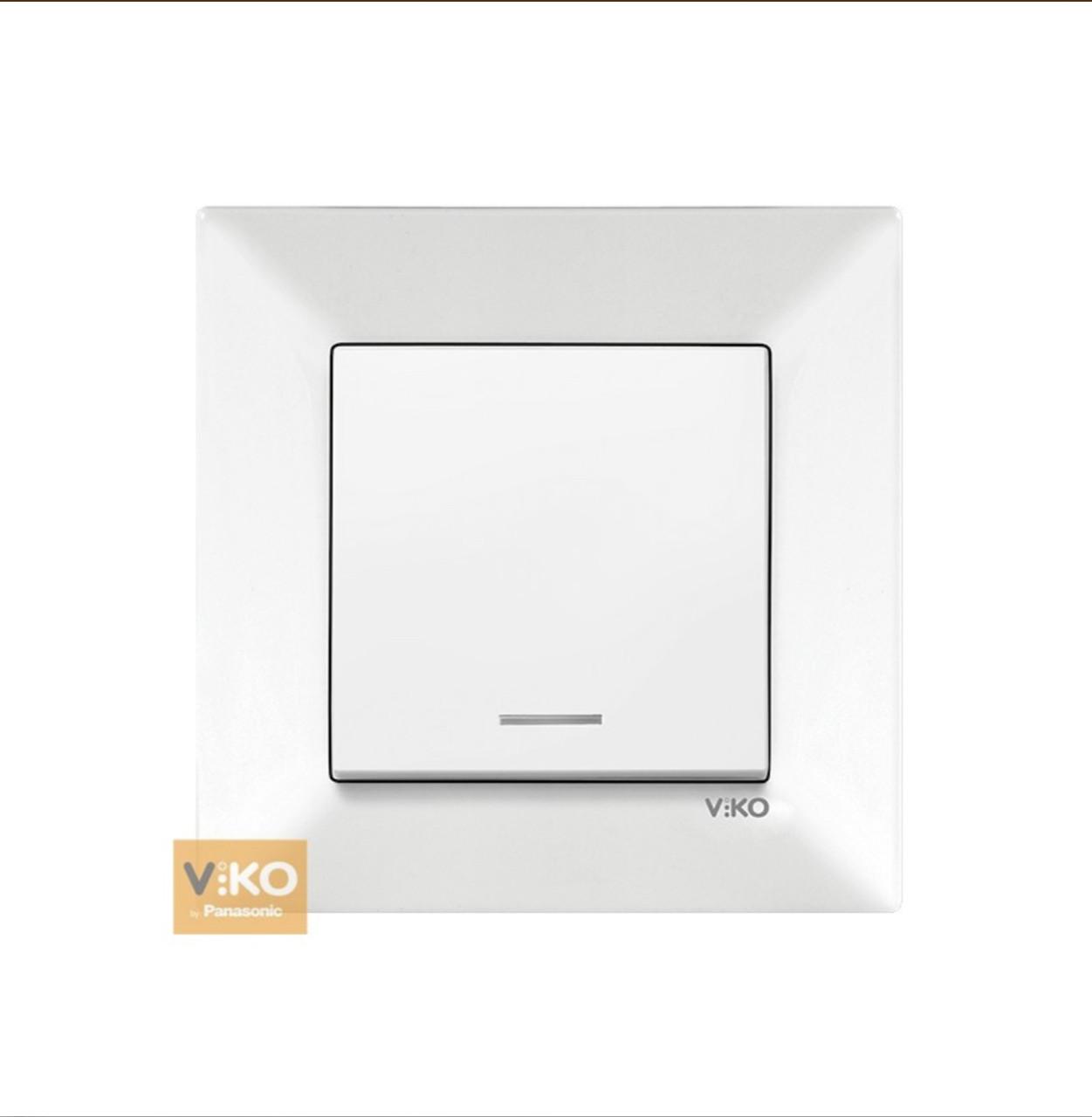 Вимикач одноклавішний з підсвічуванням VIKO Meridian - Білий