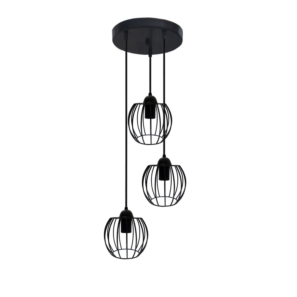 Подвесная люстра на 3-лампы BARREL-3G E27 на круглой основе, чёрный