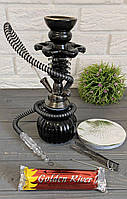 Кальян черный на одну персону 26см.с уголь и фольгой, фото 1