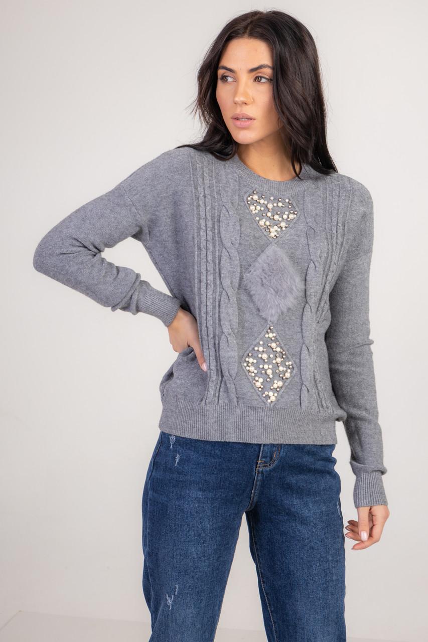 Приятная кофта-свитер украшенная жемчугом и натуральным мехом в 5 цветах в размерах S/M и M/L