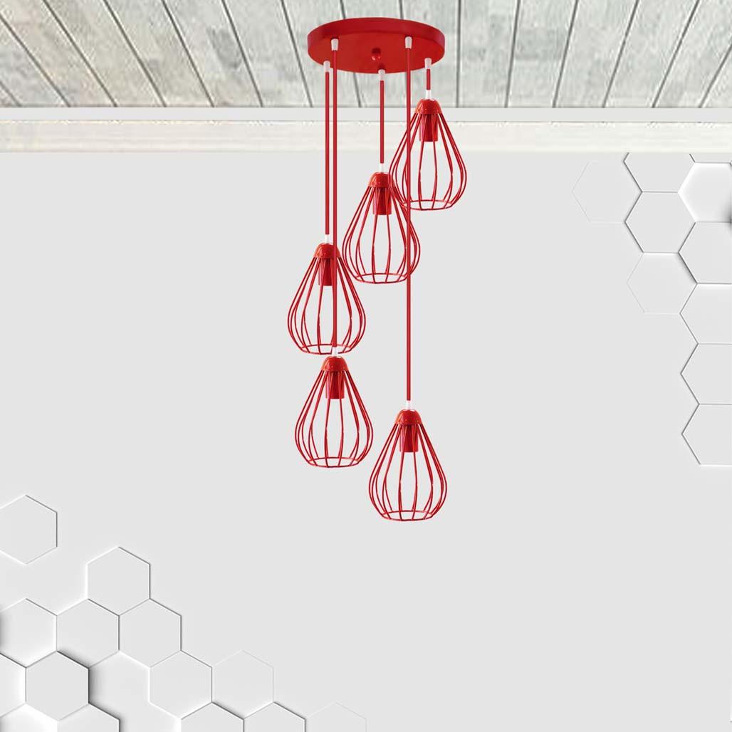 Подвесная люстра на 5-ламп FANTASY-5G E27 на круглой основе, красный
