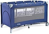 Детская кровать манеж Caretero Basic Plus Navy