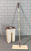 Комплект швабра с ведром с автоматическим отжимом Чудо швабра лентяйка для уборки Flat Mop