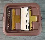 Комплект швабра с ведром с автоматическим отжимом Чудо швабра лентяйка для уборки Flat Mop, фото 4
