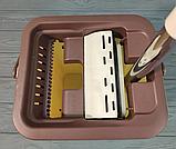 Комплект швабра с ведром с автоматическим отжимом Чудо швабра лентяйка для уборки Flat Mop, фото 5