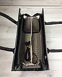 Женская сумка Бочонок черного цвета со вставкой кофейный крокодил, фото 4
