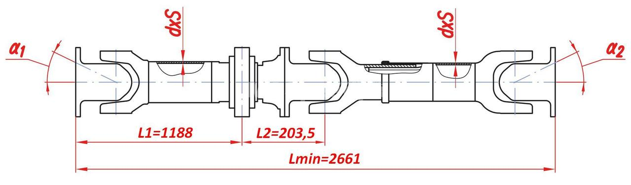 Карданная передача L-2661 mm 4 отв. (Белкард) 630305-2205006-010