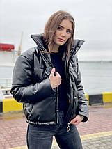 Утепленная кожаная куртка женская, фото 3