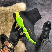 Мужские кроссовки-носки Balenciaga Speed Black Green (Черный)