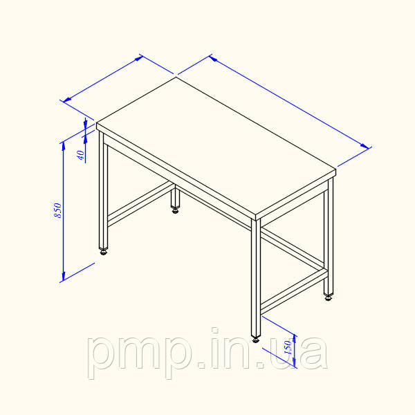 Стіл робочий з обв'язкою з 3-х сторін, без борту 1800*600*850