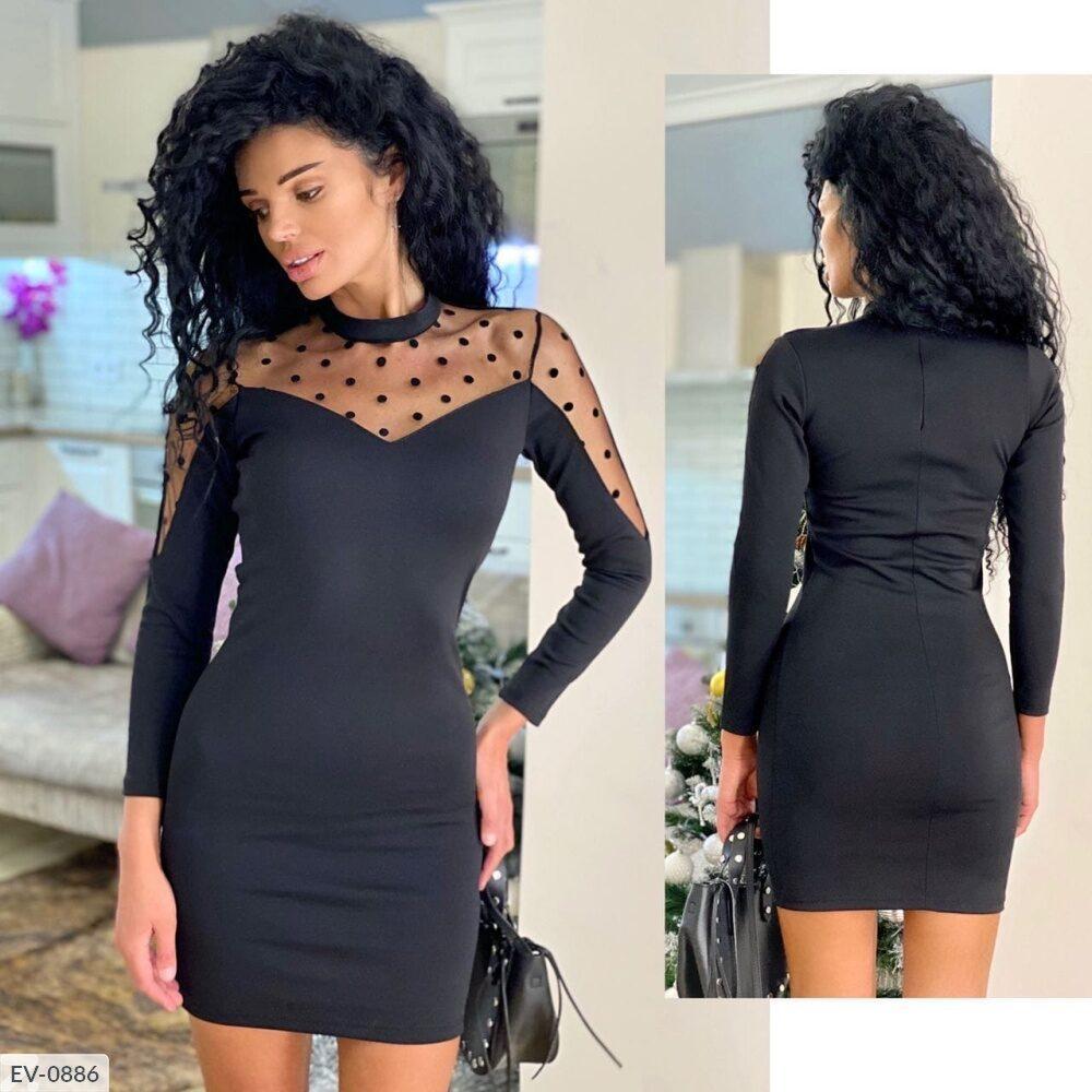 Черное платье с сеткой горохом