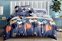 Комплект евро постельного белья бязь с сердцами разноцветное