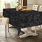 Скатерть на стол Цветочный принт Версаль Черная 150х220 Код С-12