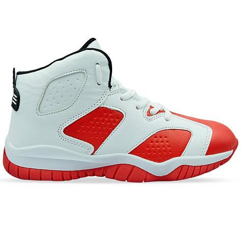 Баскетбольные кроссовки детские Jordan бело-красные 1802-1, 31, фото 2