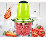 Кухонный электрический блендер двойной измельчитель Молния для мяса овощей и фруктов чоппер миксер смузи, фото 3