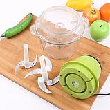 Кухонный электрический блендер двойной измельчитель Молния для мяса овощей и фруктов чоппер миксер смузи, фото 4