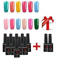 Гель лак XNail Bar Professional 10мл 12ш(набор гель лаков для маникюра и педикюра, покрытие ногтей, база, топ)