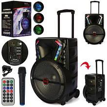 Bluetooth колонка-валіза на колесах з ручкою портативна, акумуляторна LT-1517BT в комплекті мікрофон