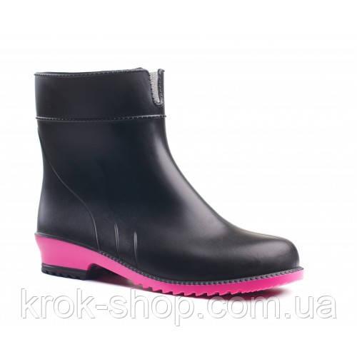 Полусапоги черные с ярко-розовой подошвой  резиновые Литма Litma 36-41