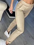 Модные женские замшевые штаны на резинке, с карманами. Однотонные. Замша на дайвинге. 4 цвета, фото 2