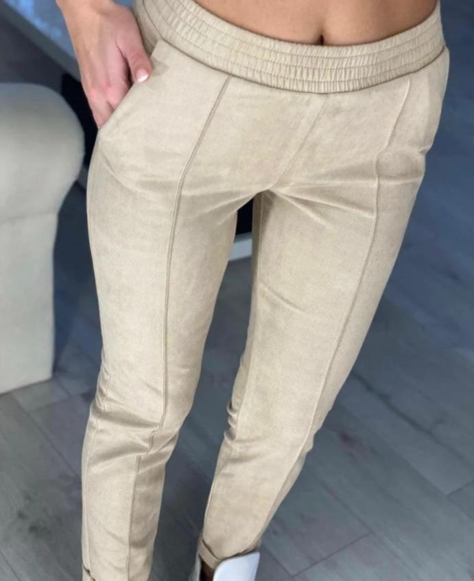 Модные женские замшевые штаны на резинке, с карманами. Однотонные. Замша на дайвинге. 4 цвета