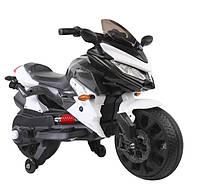 Детский электромотоцикл. Страховочные колесики. Скорость 5 км/ч. Светятся фары. Зеркала. Белый. T-7233 EVA