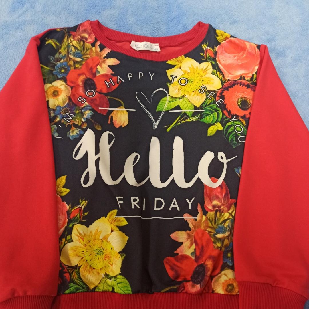 Худи модное нарядное оригинальное красивое с цветочным принтом и надписями для девочки.