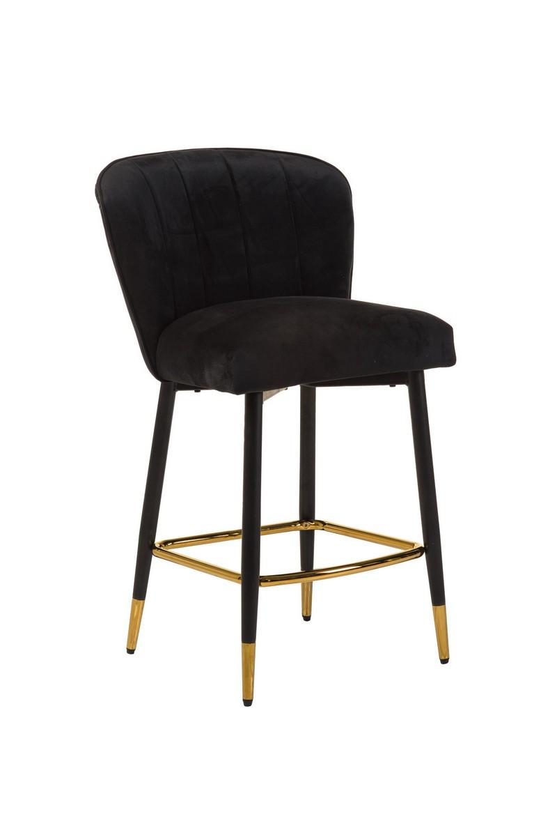 Полубарный стул В-126 черный вельвет + черный металл с золотым наконечником от Vetro Mebel