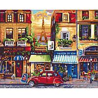 "Картина по номерам. Городской пейзаж ""Улицами Парижа"" KHO2189, 40х50 см, фото 1"