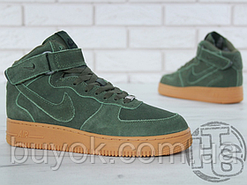 Чоловічі кросівки Nike Air Force 1 High 07 LV8 Suede Vintage Green Gum (з хутром) AA1118-300