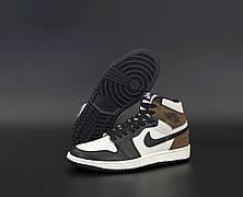 Женские кроссовки Air Jordan 1 Retro Dark Mocha Black White Brown 555088-105, фото 2