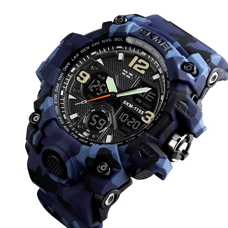 Skmei 1155 B HAMLET синий камуфляж спортивные часы