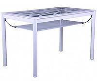 Стол Лорейн обеденный B21-2 2100х700х750 База белый/Стекло прозрачное с белым узором