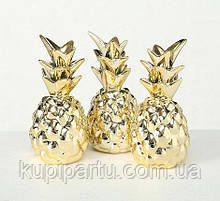 Декор ананасы набор из трех золотая керамика h11см Гранд Презент 7709700