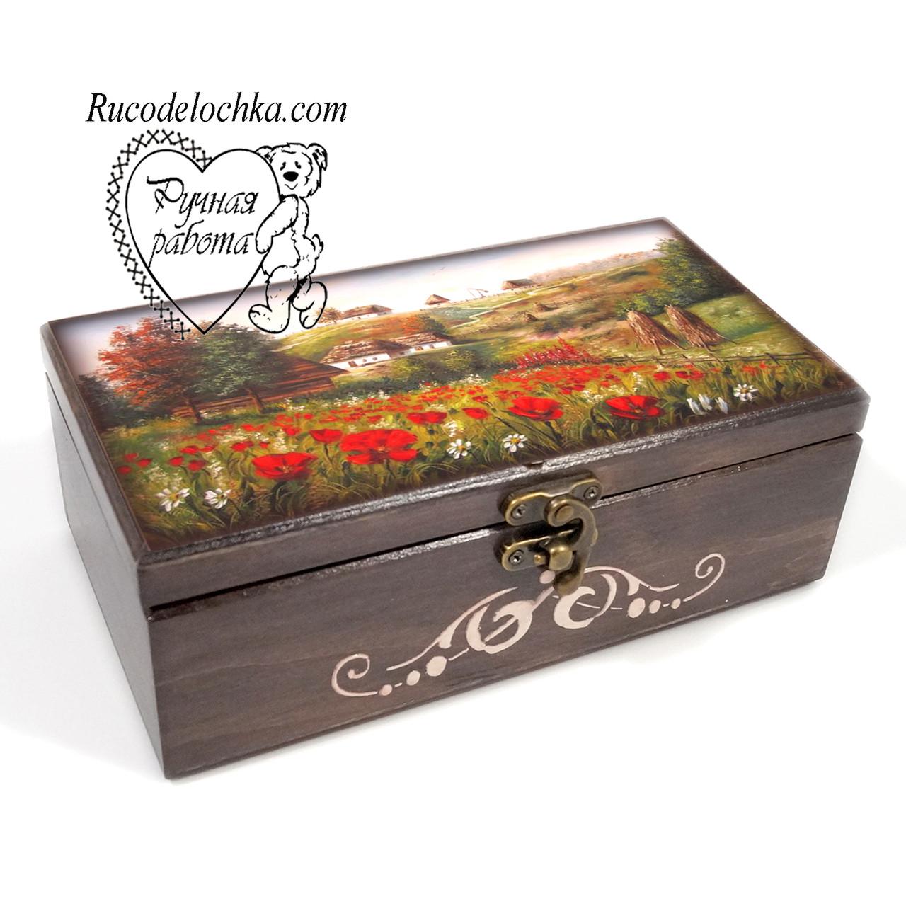 Шкатулка купюрница Маки, украинская хата 20*10*7 см, подарок для денег, украинская шкатулка, маки