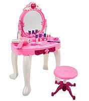 Детское трюмо со стульчиком и зеркалом с подсветкой, туалетный столик для девочки с косметикой и аксессуарами