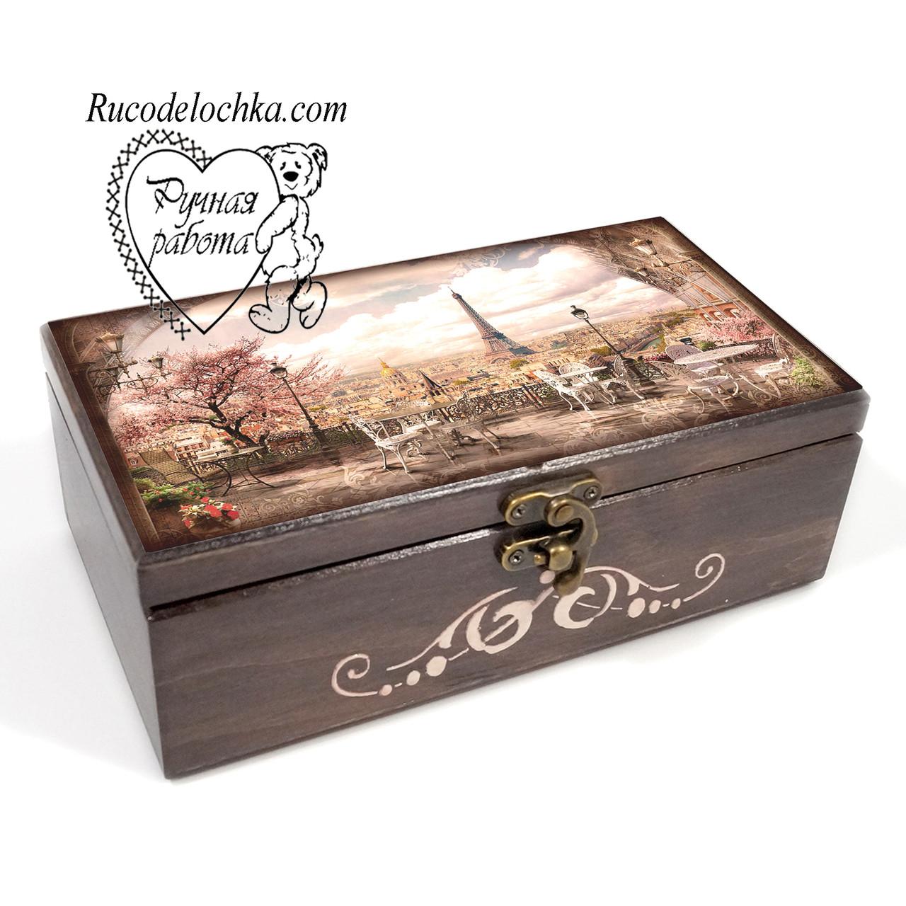 Шкатулка купюрница Париж 20*10*7 см, подарок для денег, сиргар, мелочей