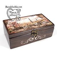 Шкатулка купюрница Париж 20*10*7 см, подарок для денег, сиргар, мелочей, фото 1