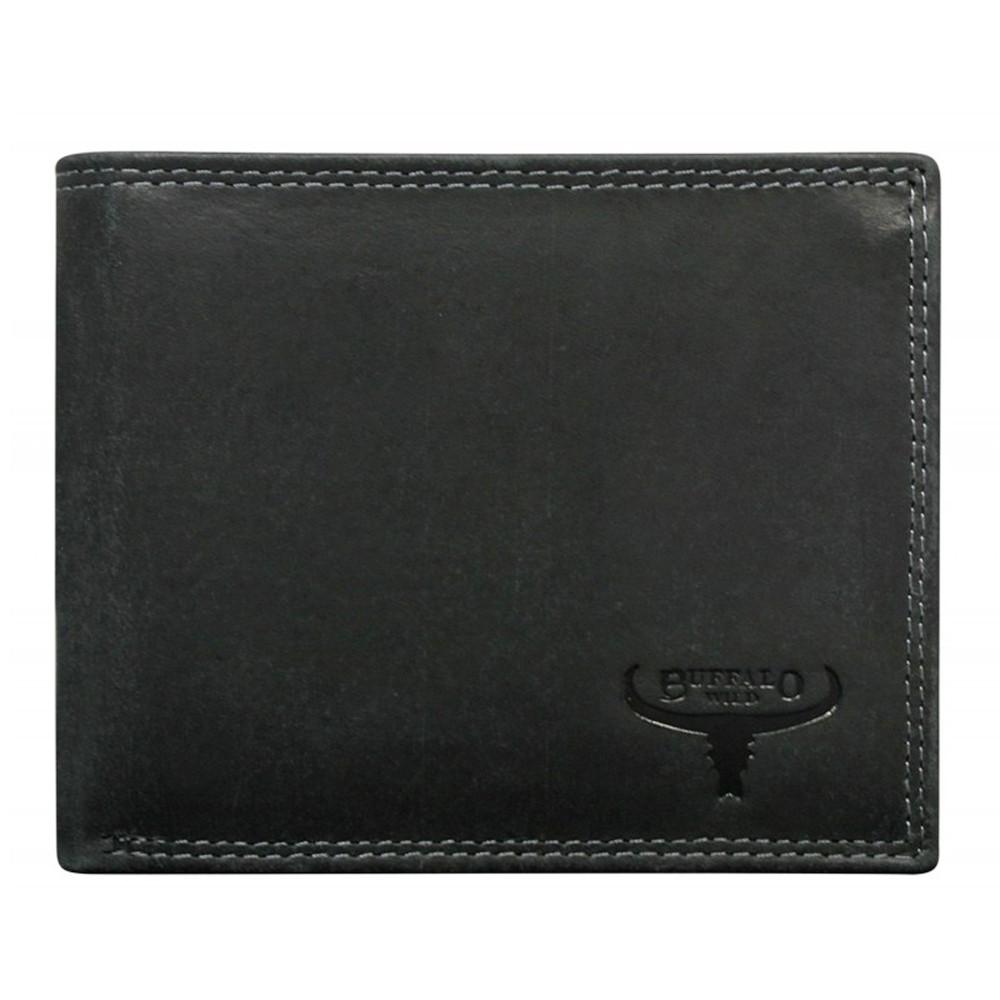 Мужское кожаное портмоне без застежки матовое черное Buffalo Wild N992-B-MHU Black