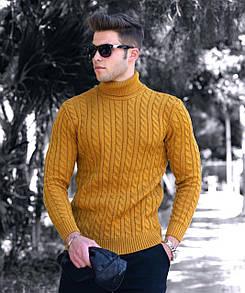 Чоловічий трикотажний светр з горлом чорний