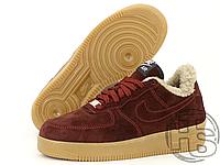 Зимние женские кроссовки Найк АФ1 Бордовые (с мехом) ALL5064