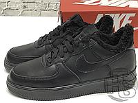 Зимние мужские кроссовки Найк АФ1 Черные кожаные (с мехом) ALL4927